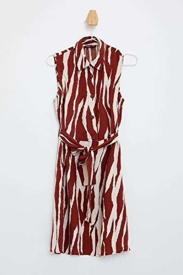 DeFacto Desenli Kolsuz Elbise Bordo